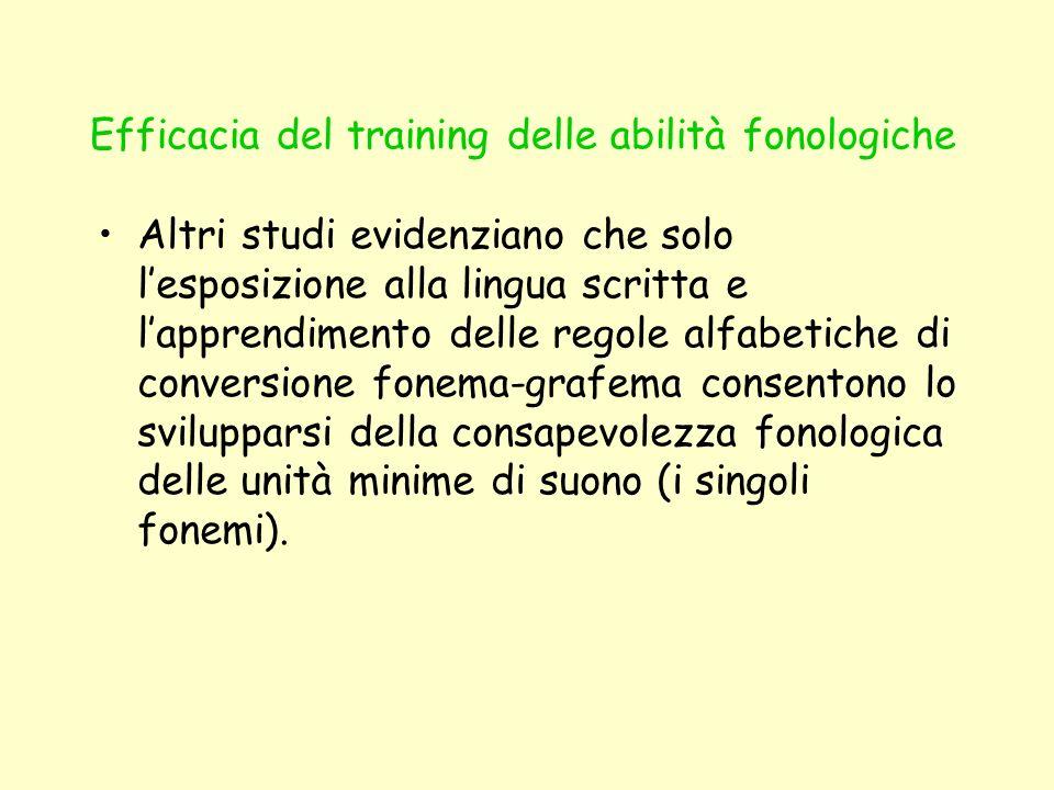 Efficacia del training delle abilità fonologiche