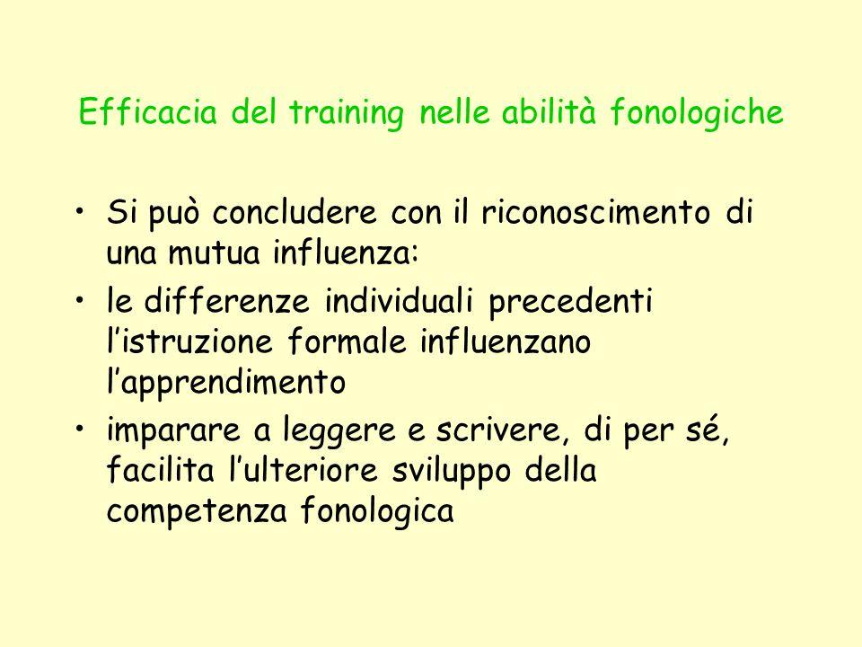 Efficacia del training nelle abilità fonologiche