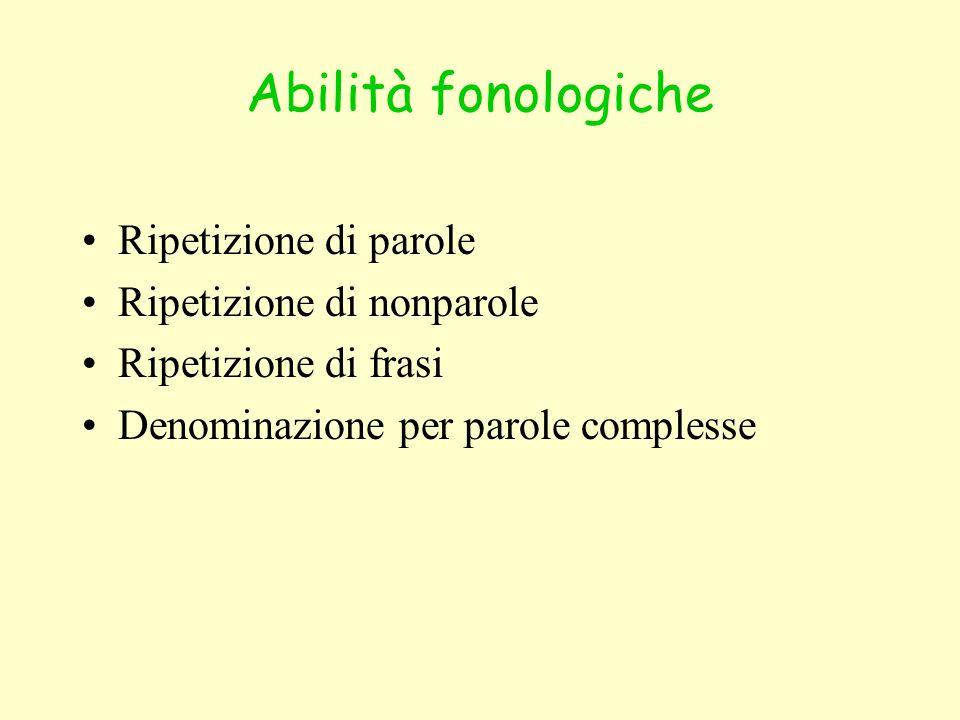 Abilità fonologiche Ripetizione di parole Ripetizione di nonparole