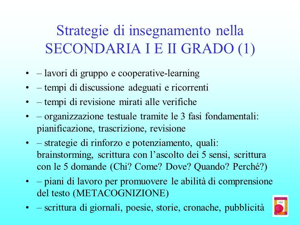 Strategie di insegnamento nella SECONDARIA I E II GRADO (1)