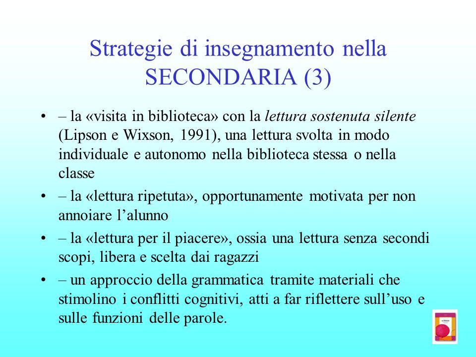 Strategie di insegnamento nella SECONDARIA (3)
