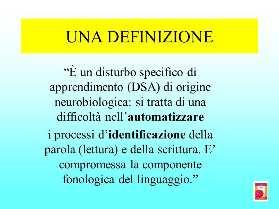 UNA DEFINIZIONE È un disturbo specifico di apprendimento (DSA) di origine neurobiologica: si tratta di una difficoltà nell'automatizzare.
