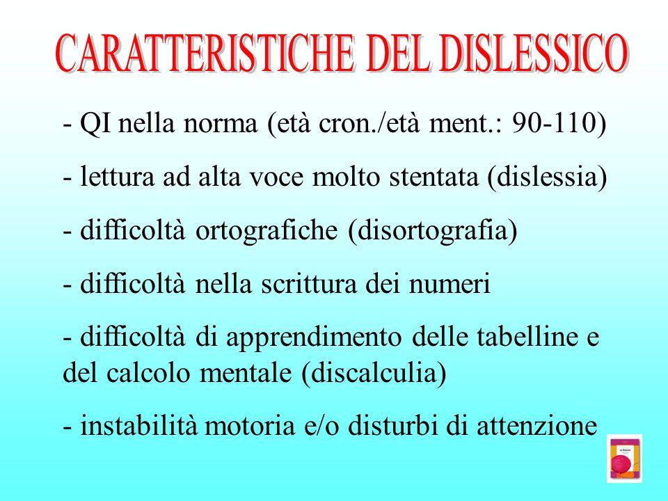 CARATTERISTICHE DEL DISLESSICO