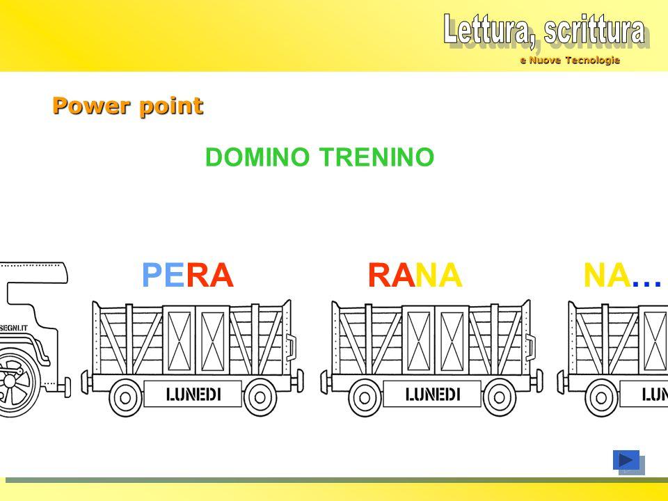 Lettura, scrittura PERA RANA NA… DOMINO TRENINO Power point