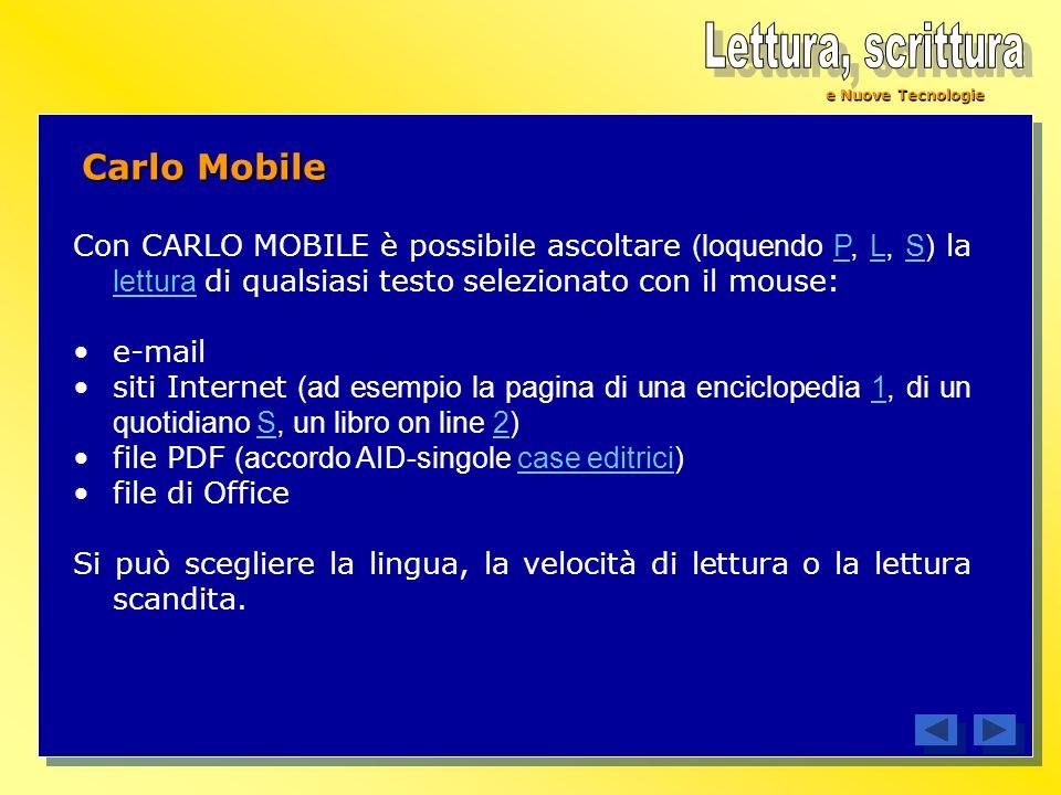 Lettura, scrittura Carlo Mobile