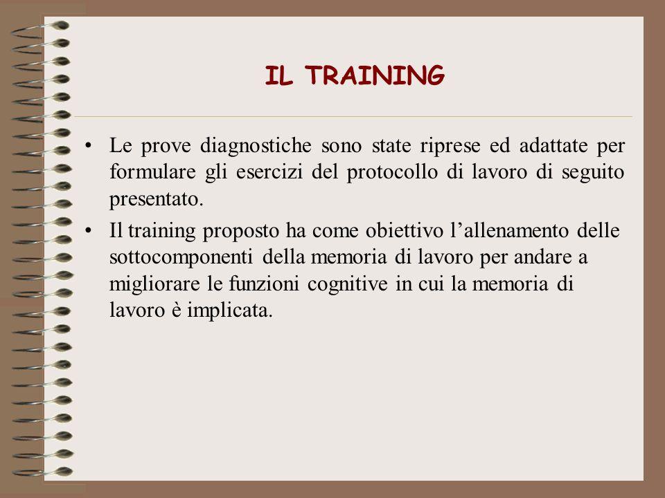 IL TRAINING Le prove diagnostiche sono state riprese ed adattate per formulare gli esercizi del protocollo di lavoro di seguito presentato.