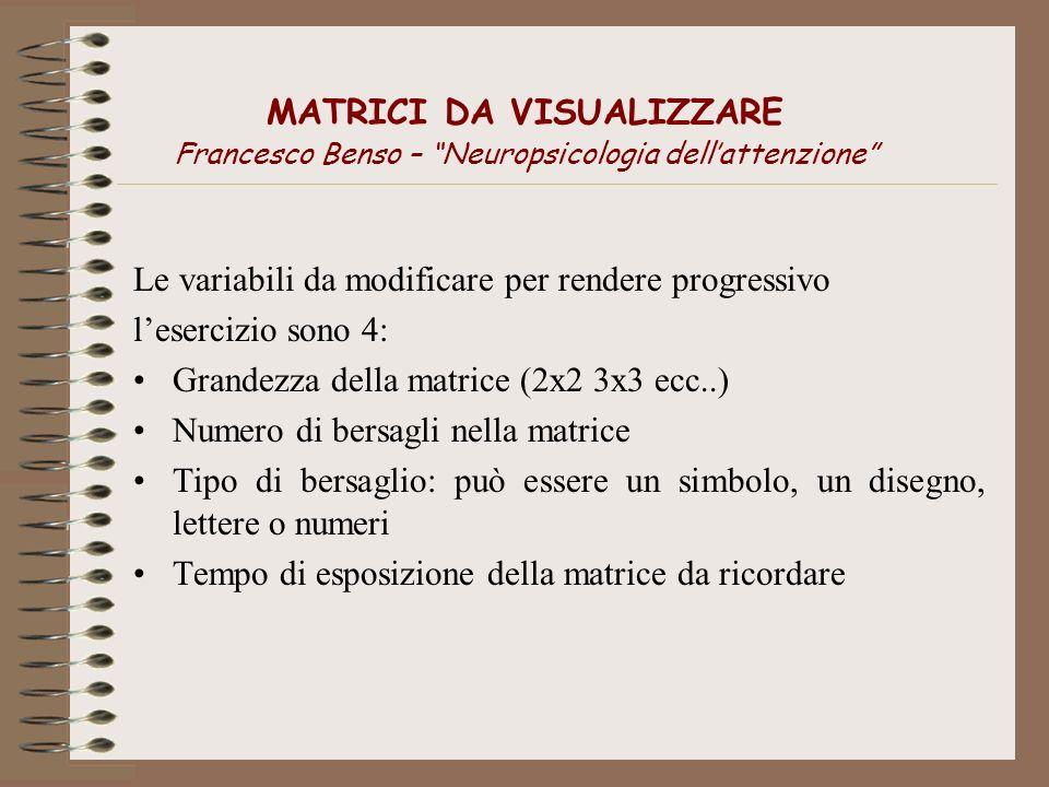 MATRICI DA VISUALIZZARE Francesco Benso – Neuropsicologia dell'attenzione