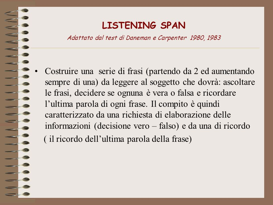LISTENING SPAN Adattato dal test di Daneman e Carpenter 1980, 1983