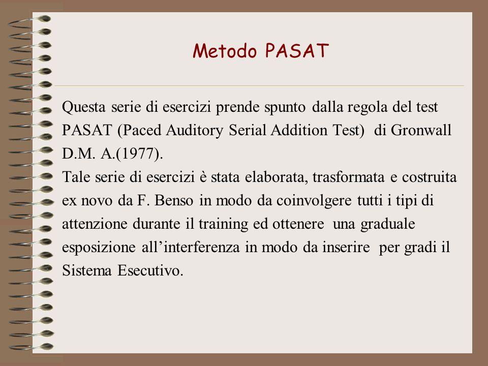Metodo PASATQuesta serie di esercizi prende spunto dalla regola del test. PASAT (Paced Auditory Serial Addition Test) di Gronwall.