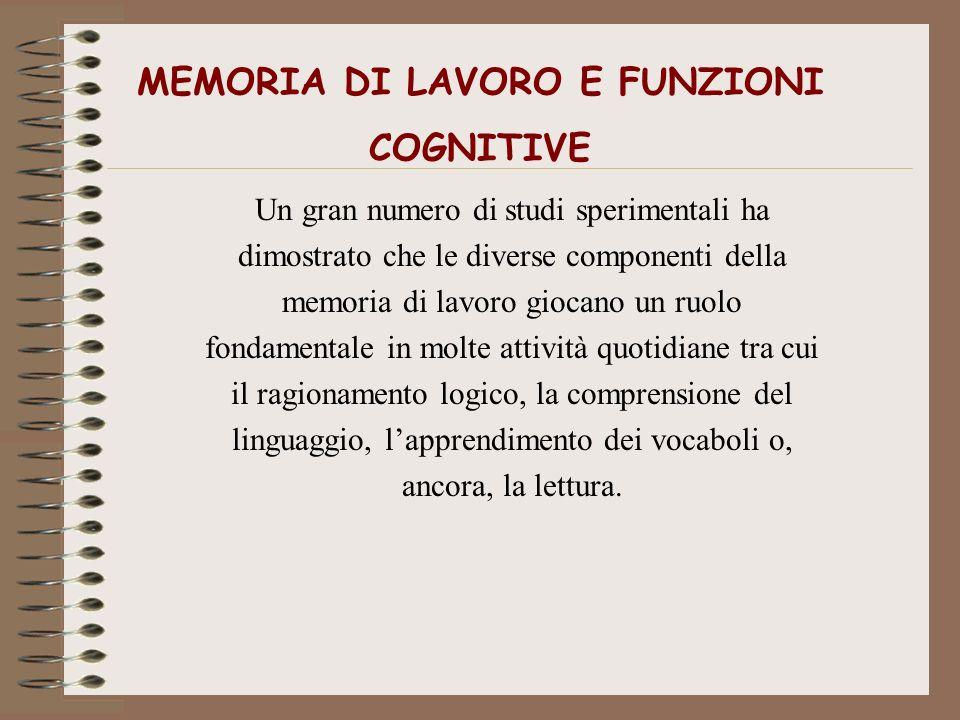 MEMORIA DI LAVORO E FUNZIONI COGNITIVE