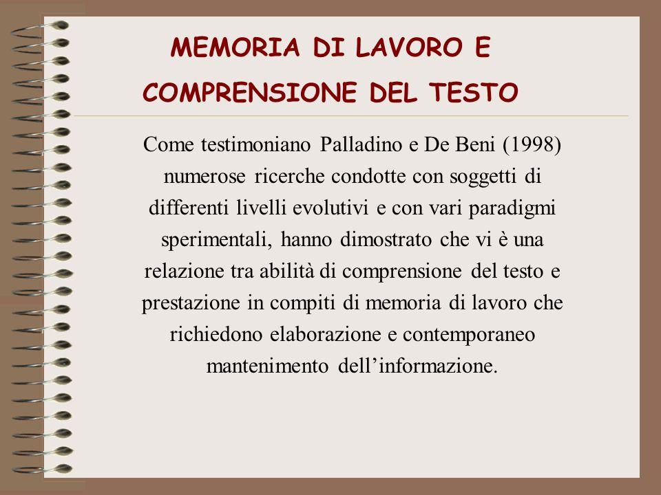 MEMORIA DI LAVORO E COMPRENSIONE DEL TESTO