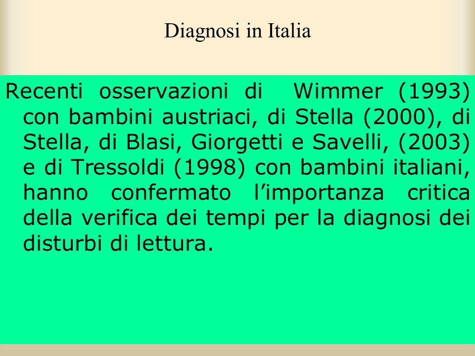 Diagnosi in Italia