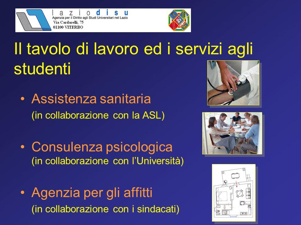Il tavolo di lavoro ed i servizi agli studenti