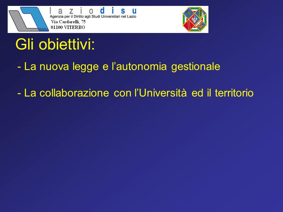 Gli obiettivi: - La nuova legge e l'autonomia gestionale - La collaborazione con l'Università ed il territorio.