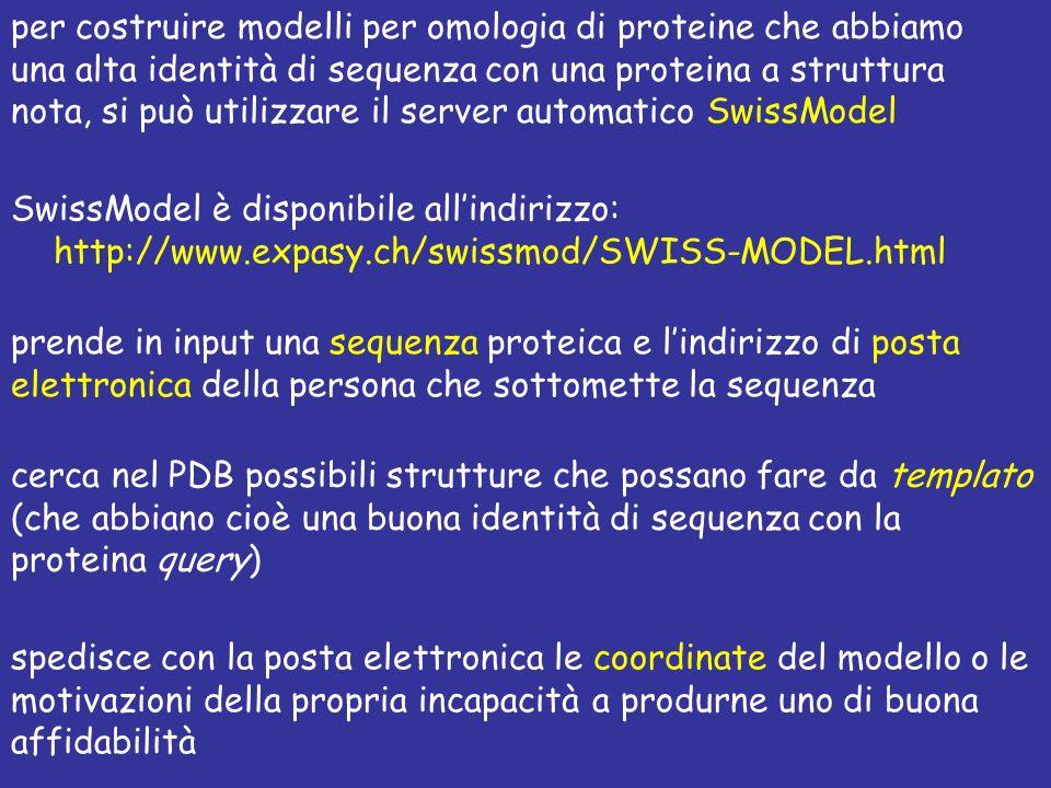 per costruire modelli per omologia di proteine che abbiamo una alta identità di sequenza con una proteina a struttura nota, si può utilizzare il server automatico SwissModel
