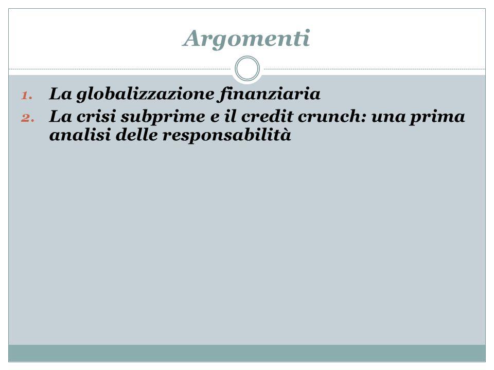 Argomenti La globalizzazione finanziaria