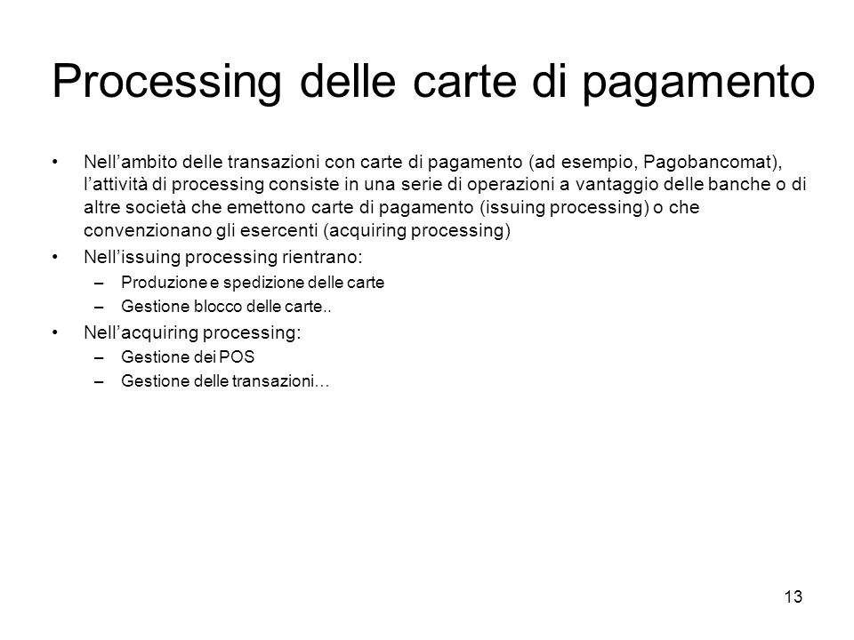 Processing delle carte di pagamento