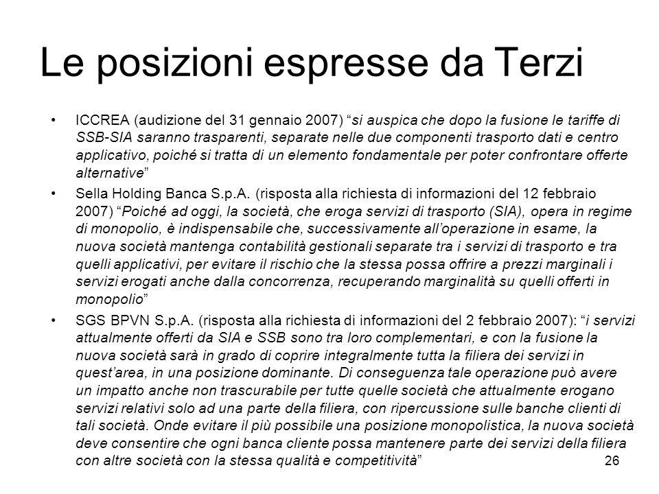 Le posizioni espresse da Terzi