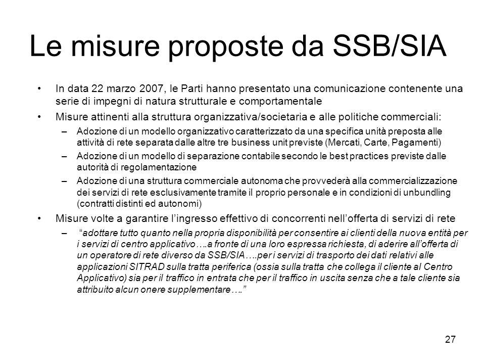 Le misure proposte da SSB/SIA