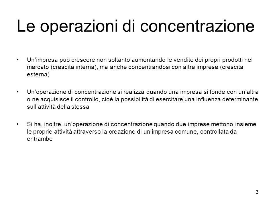 Le operazioni di concentrazione