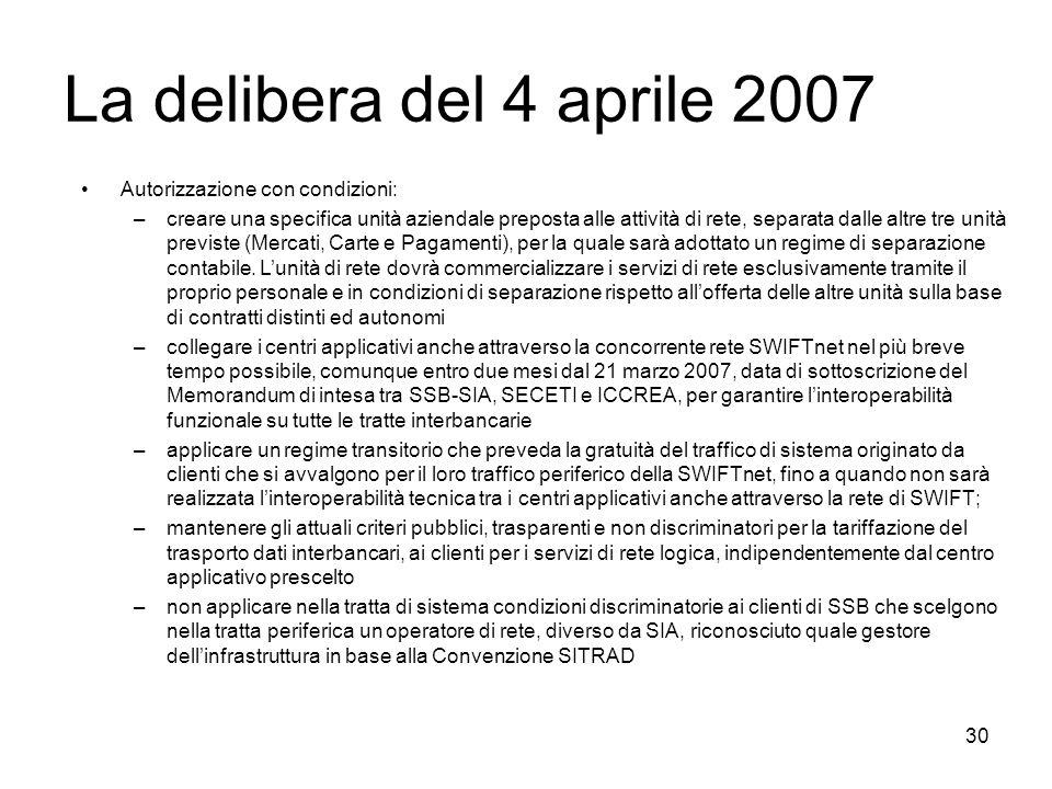 La delibera del 4 aprile 2007 Autorizzazione con condizioni: