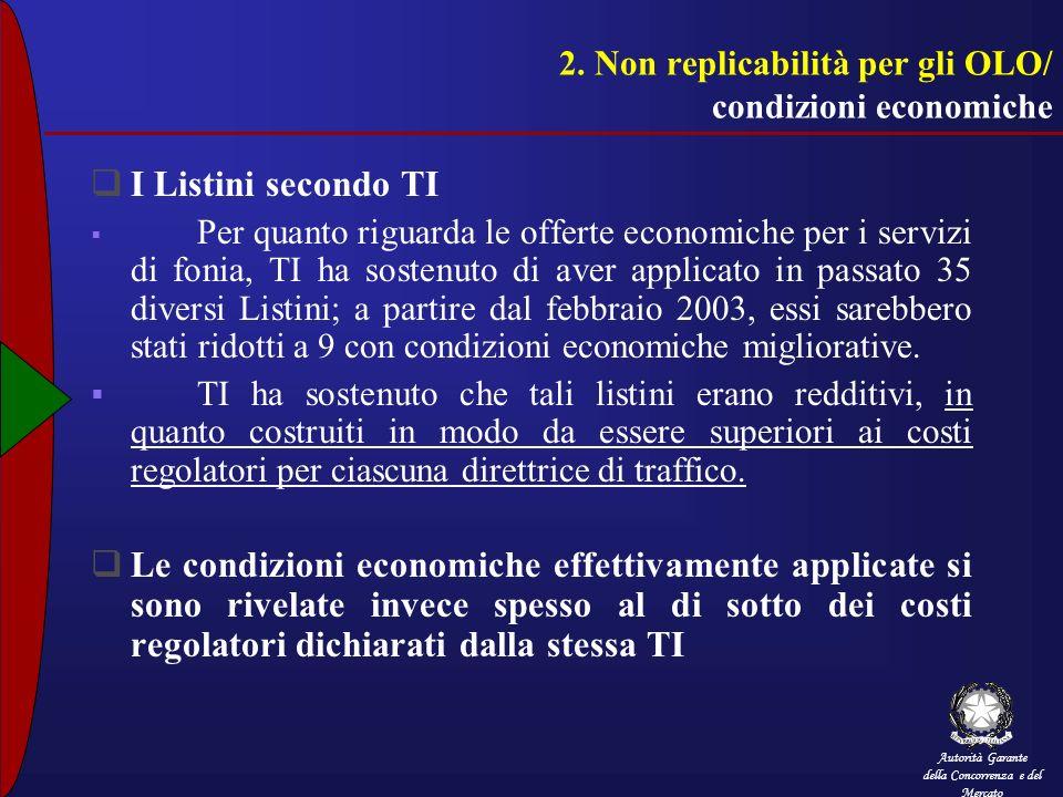 2. Non replicabilità per gli OLO/ condizioni economiche