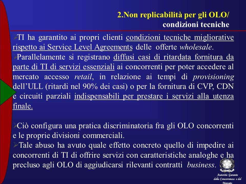 2.Non replicabilità per gli OLO/ condizioni tecniche