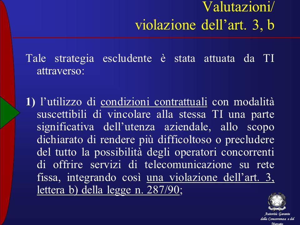 Valutazioni/ violazione dell'art. 3, b