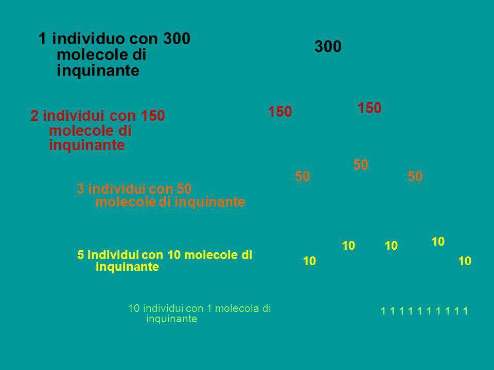 1 individuo con 300 molecole di inquinante 300