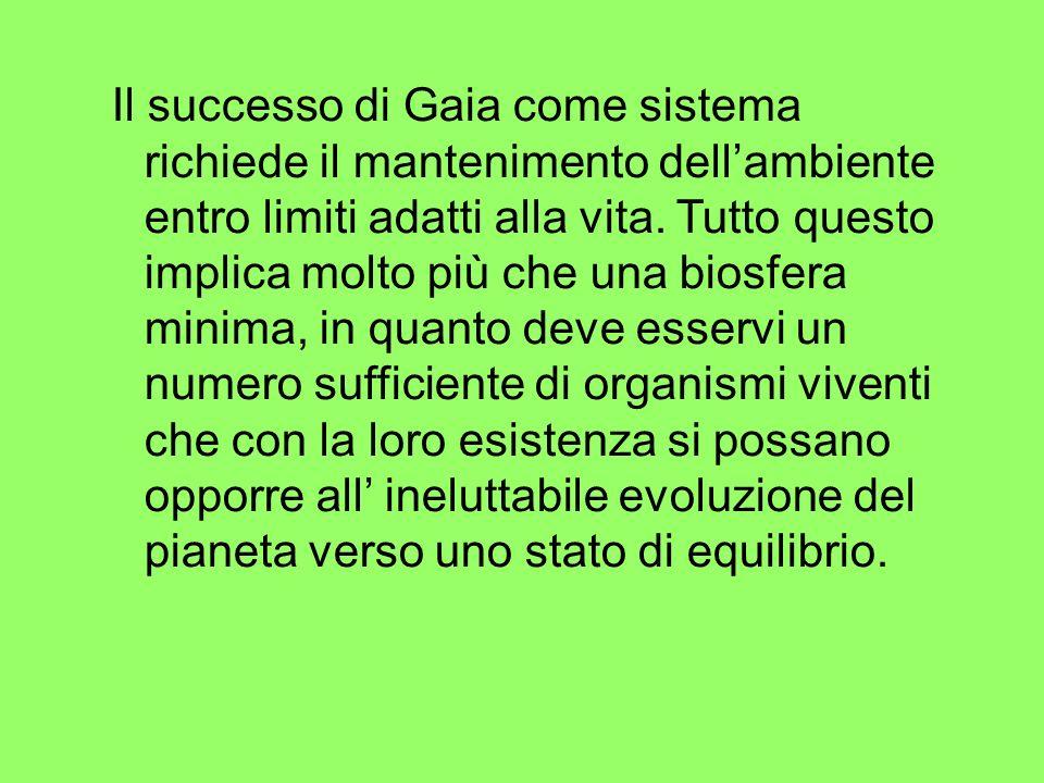 Il successo di Gaia come sistema richiede il mantenimento dell'ambiente entro limiti adatti alla vita.