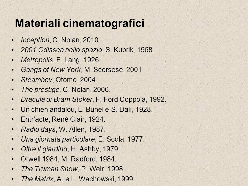 Materiali cinematografici