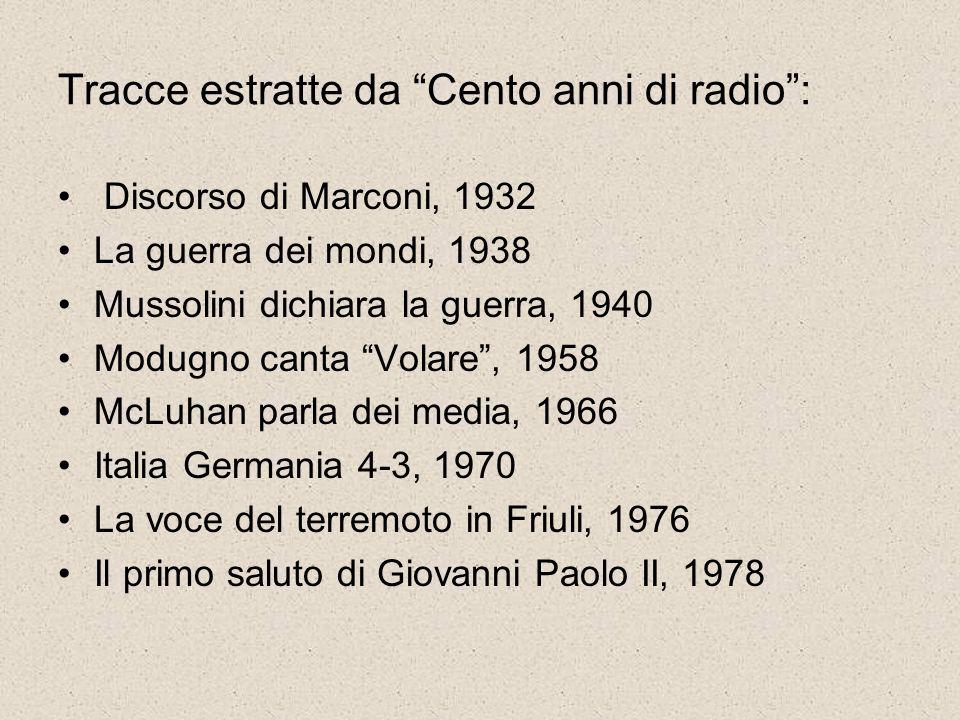 Tracce estratte da Cento anni di radio :