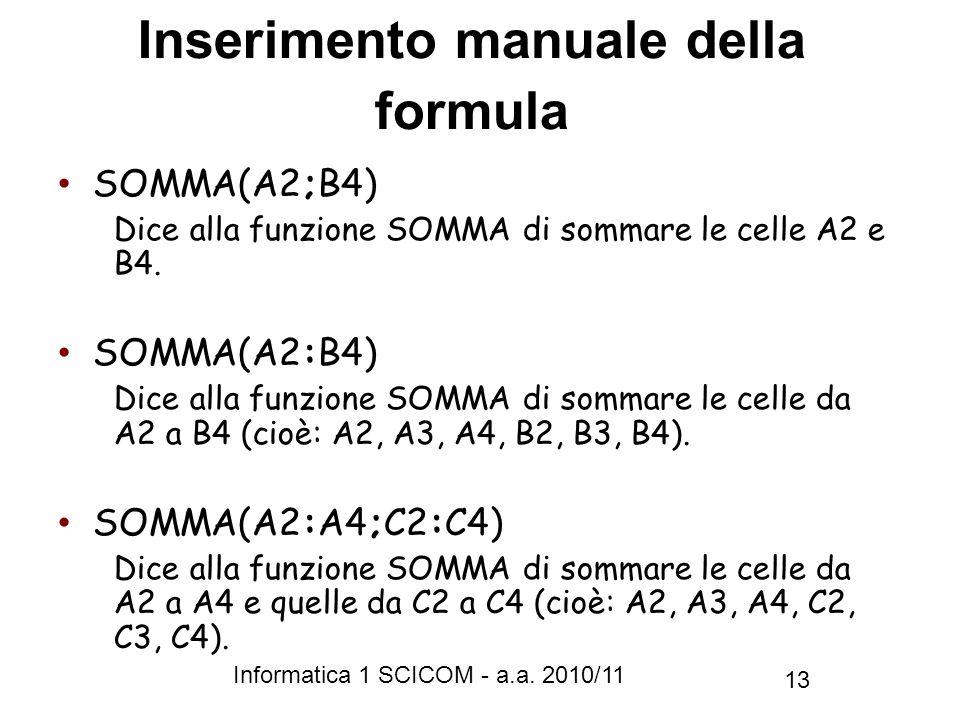 Inserimento manuale della formula