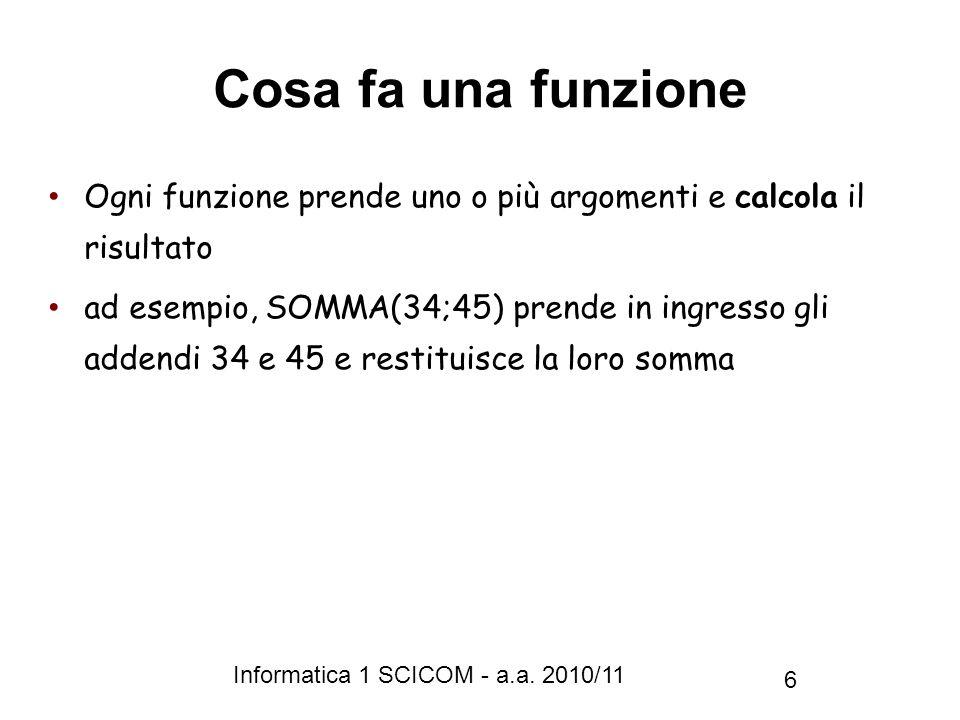 Cosa fa una funzione Ogni funzione prende uno o più argomenti e calcola il risultato.