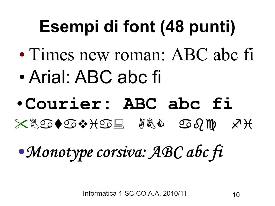 Esempi di font (48 punti)