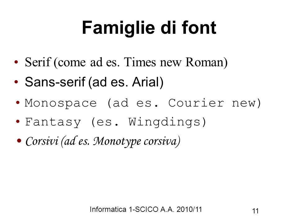 Famiglie di font Serif (come ad es. Times new Roman)