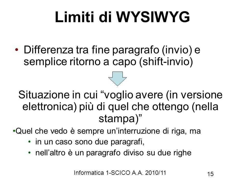 Limiti di WYSIWYG Differenza tra fine paragrafo (invio) e semplice ritorno a capo (shift-invio)