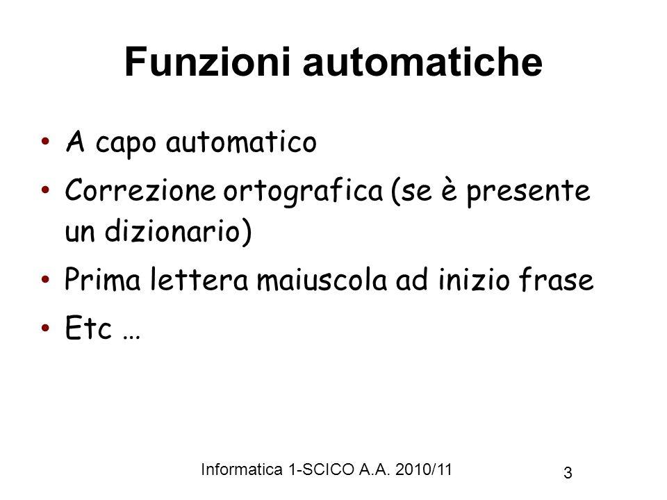 Funzioni automatiche A capo automatico
