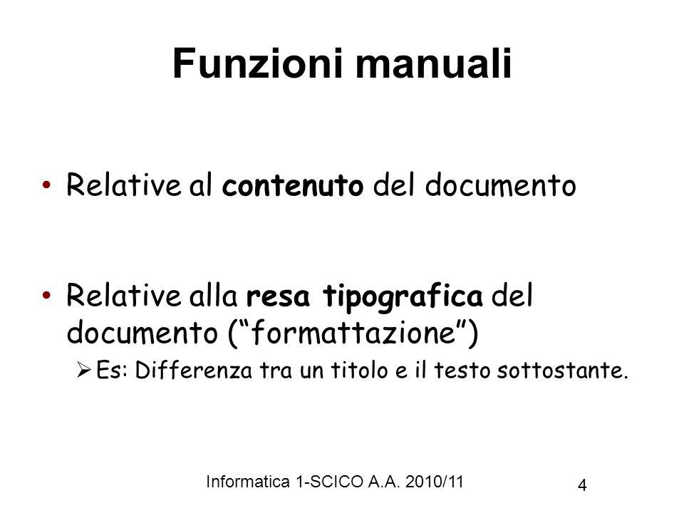 Funzioni manuali Relative al contenuto del documento