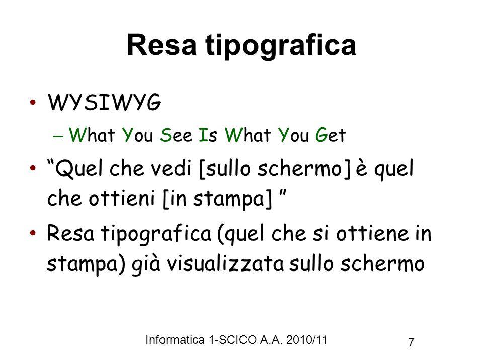 Resa tipografica WYSIWYG