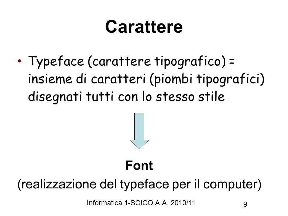 (realizzazione del typeface per il computer)