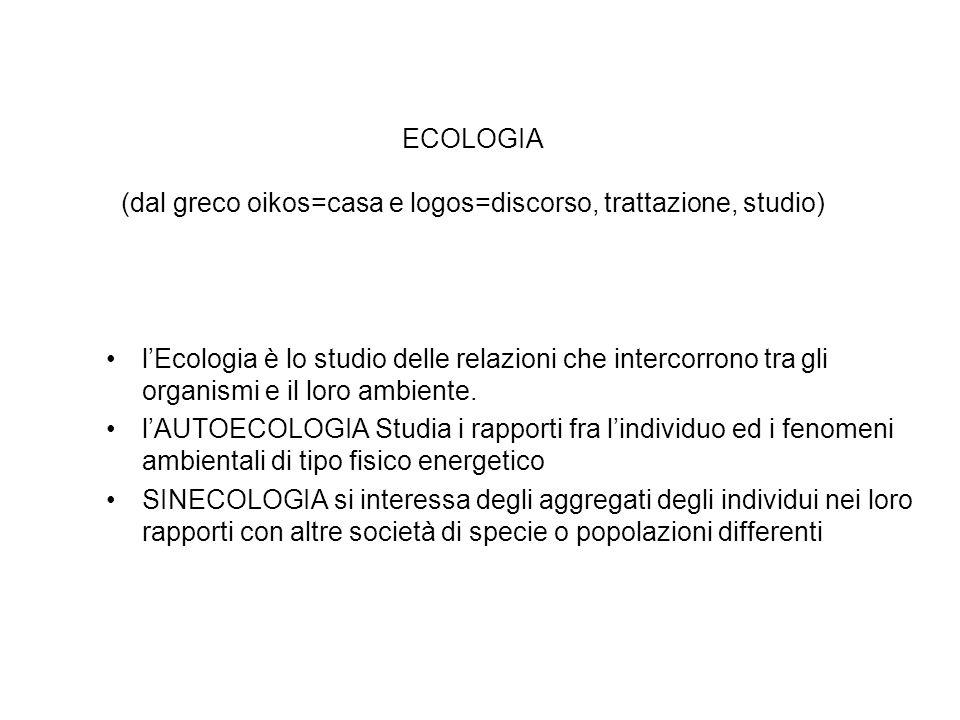 ECOLOGIA (dal greco oikos=casa e logos=discorso, trattazione, studio)