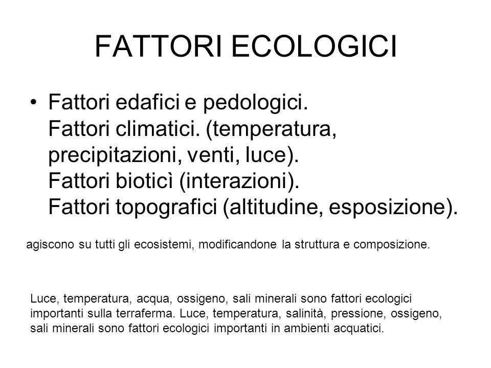 FATTORI ECOLOGICI