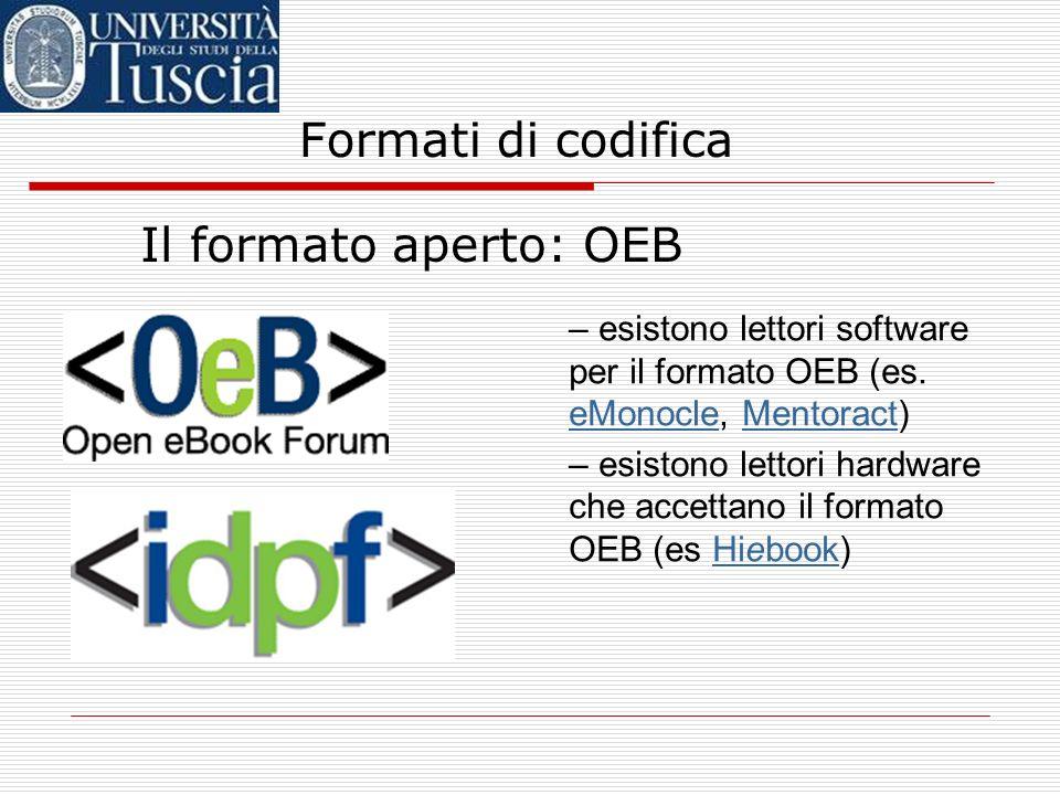 Formati di codifica Il formato aperto: OEB