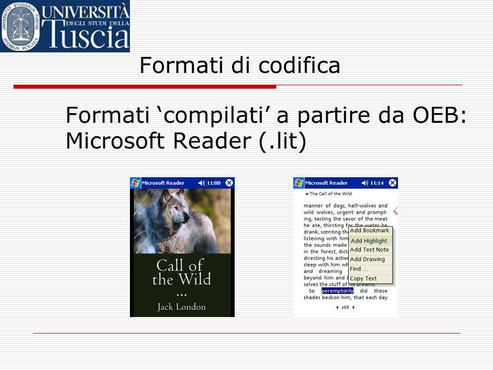 Formati di codifica Formati 'compilati' a partire da OEB: Microsoft Reader (.lit)