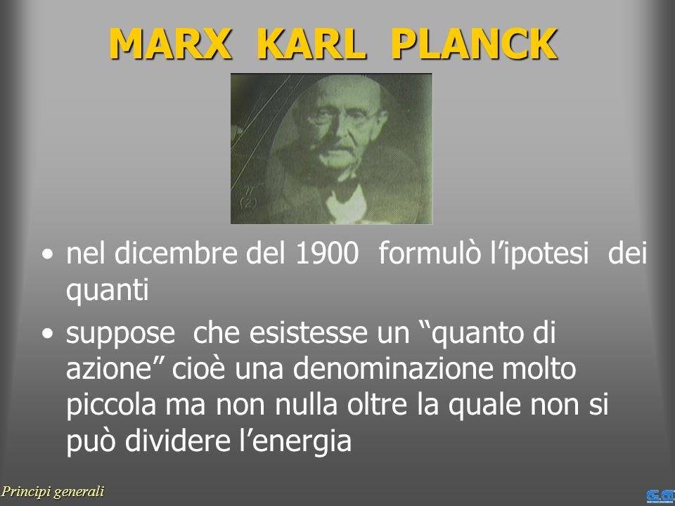 MARX KARL PLANCK nel dicembre del 1900 formulò l'ipotesi dei quanti