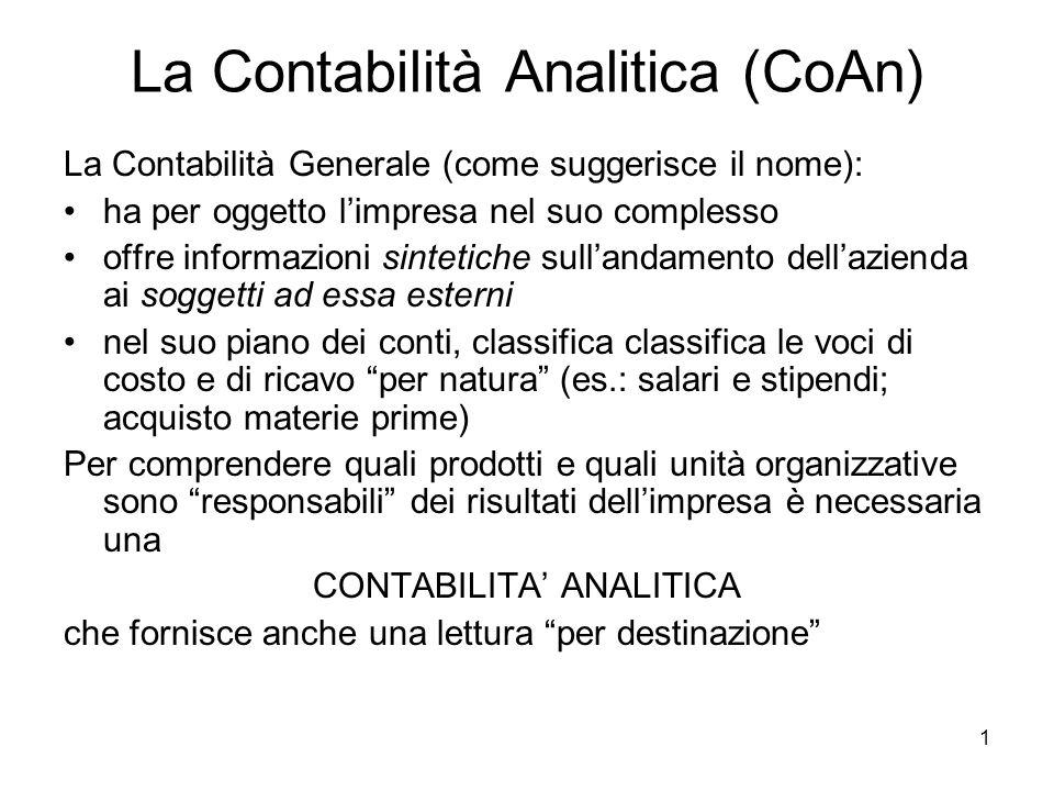 La Contabilità Analitica (CoAn)