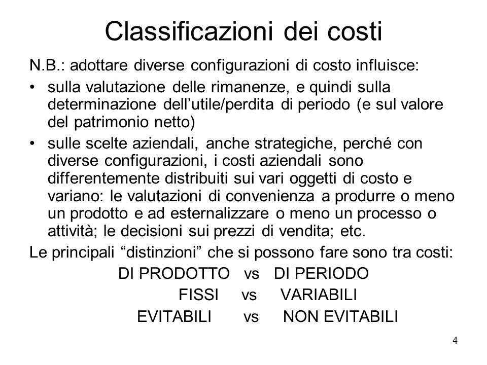 Classificazioni dei costi