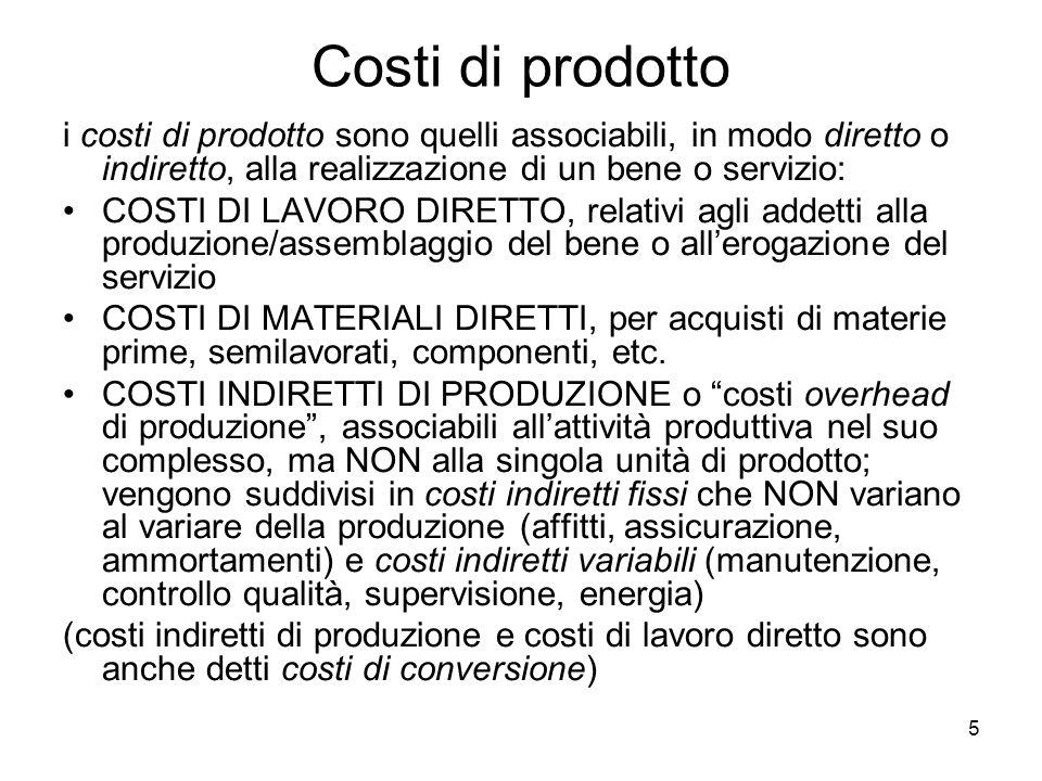 Costi di prodotto i costi di prodotto sono quelli associabili, in modo diretto o indiretto, alla realizzazione di un bene o servizio: