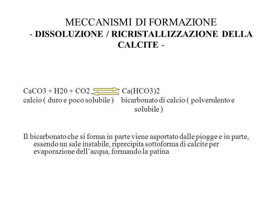MECCANISMI DI FORMAZIONE - DISSOLUZIONE / RICRISTALLIZZAZIONE DELLA CALCITE -